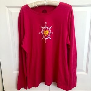 Life is good long sleeve pink shirt with compass